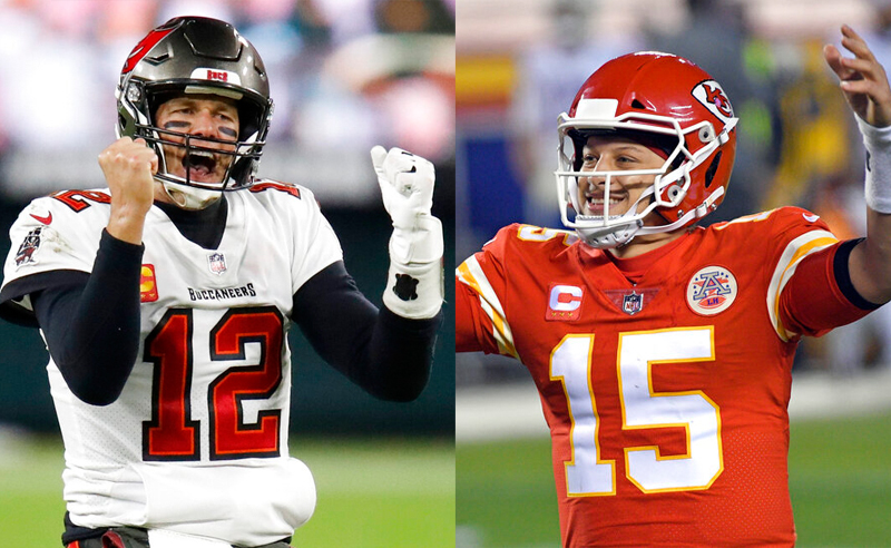 Tom Brady do Bucs e Patrick Mahomes do Chiefs