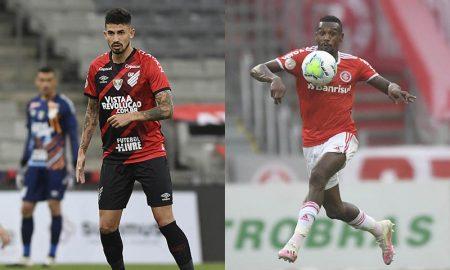 Jogadores do Athletico-PR e Inter