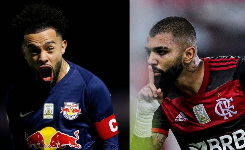 Claudinho do RB Bragantino e Gabriel Gabigol do Flamengo