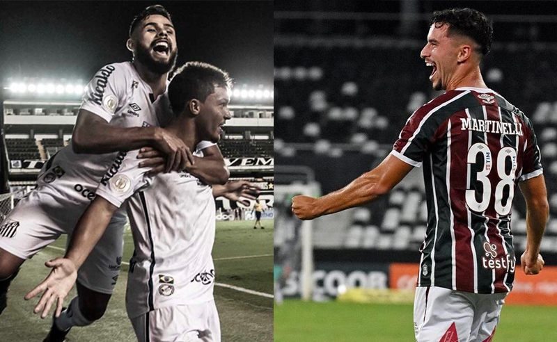 Felipe Jonathan e Marcos Leonardo do Santos e Martinelli do Fluminense