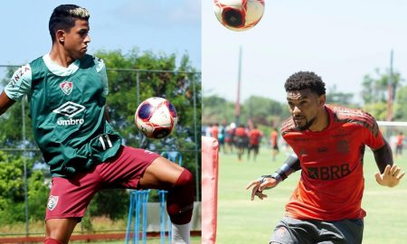 Matheus Martins do Fluminense e Bruno Viana do Flamengo