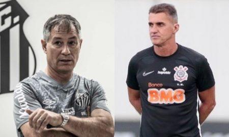 Ariel Holan do Santos e Vagner Mancini do Corinthians