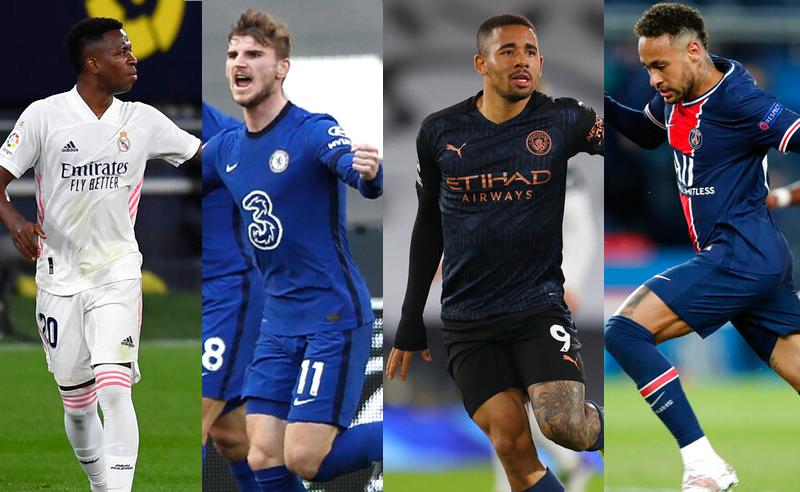 Vinicius Jr do Real Madrid, Timo Werner do Chelsea, Gabriel Jesus do M. City, Neymar do PSG