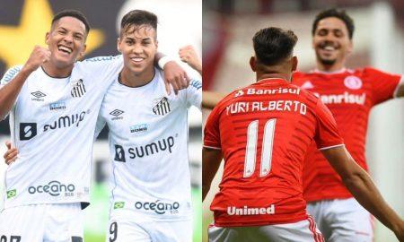 Jogadores de Santos e Internacional, equipes que jogam nesta terça pela Libertadores