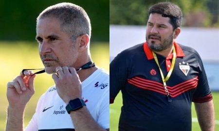 Os técnicos Sylvinho e Eduardo Barroca