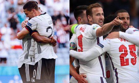 Alemanha e Inglaterra comemorando suas vitórias na fase de grupos na Eurocopa 2021
