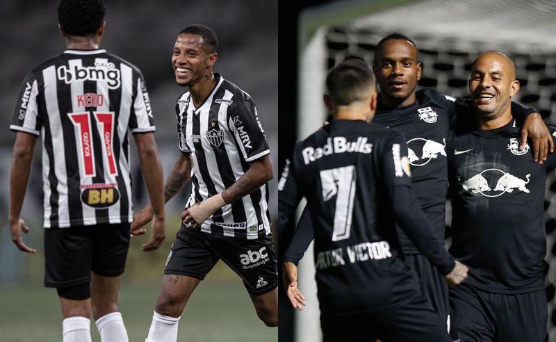 Jogadores de Atlético-MG e Bragantino festejam gols no Brasileirão 2021