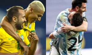 As seleções do Brasil e da Argentina comemoram gols na Copa América 2021