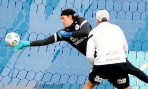 Cássio, do Corinthians, durante treino da equipe para partida do Brasileirão 2021
