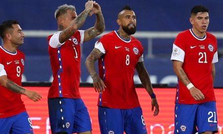 Chile comemora 1º gol na Copa América