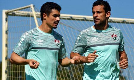Egídio e Fred em treino do Fluminense