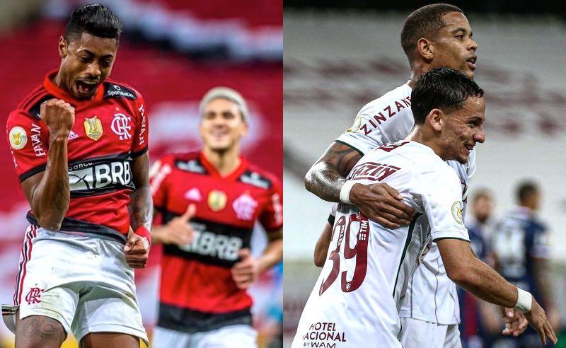 Atletas de Flamengo e Fluminense comemoram seus gols no Brasileirão 2021