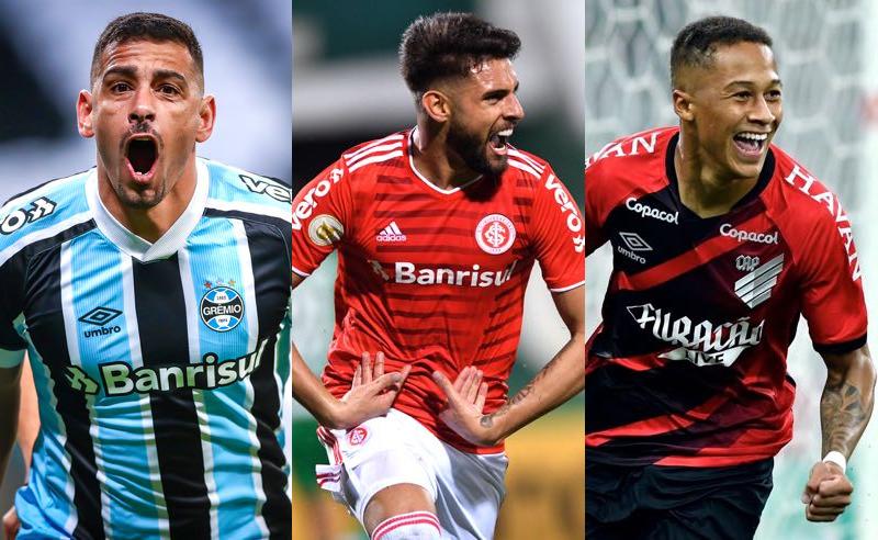 Diego Souza (Grêmio), Yuri Alberto (Inter) e Vitinho (Athletico-PR) no Brasileirão 2021