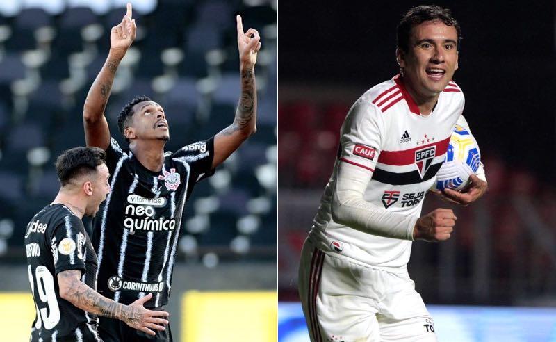 Jô, do Corinthians, e Pablo, do São Paulo, atacantes que devem se encontrar no clássico do Brasileirão 2021