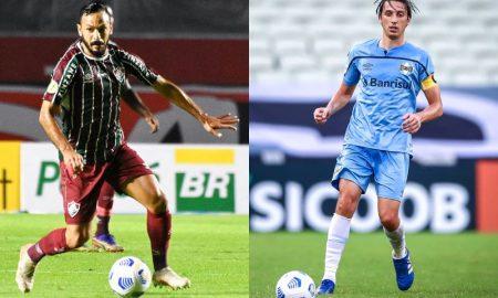 Jogadores do Fluminense e do Grêmio, que estreiam na Copa do Brasil