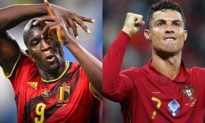 Lukaku, da Bélgica, e Cristiano Ronaldo, de Portugal, na Eurocopa 2021