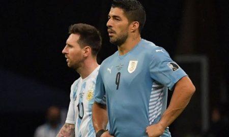 Messi e Suárez em Argentina 1 x 0 Uruguai na Copa América 2021