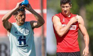 Gerard Moreno, da Espanha, e Robert Lewandowski, da Polônia, que se enfrentam na Eurocopa 2021