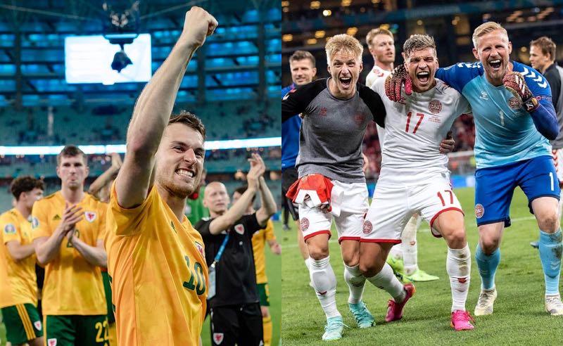 País de Gales e Dinamarca comemoram classificação para as oitavas de final da Eurocopa 2021