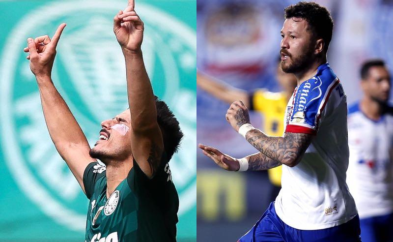 Willian (Palmeiras) e Rossi (Bahia) comemoram gols no Brasileirão 2021