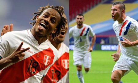 Os jogadores do Peru e do Paraguai comemoram gols na fase de grupos da Copa América 2021