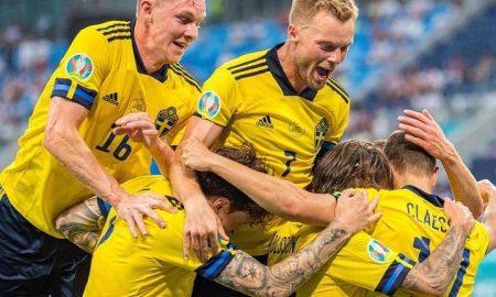 Suécia comemora vitória sobre a Polônia na fase de grupos da Eurocopa 2021