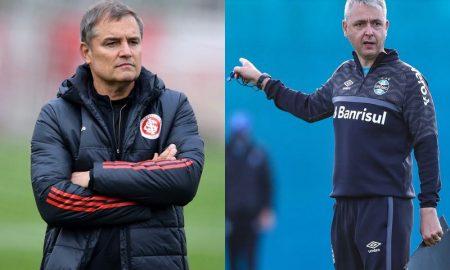 Técnicos Diego Aguirre (Internacional) e Tiago Nunes (Grêmio) nos treinos para o Brasileirão 2021