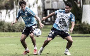 Treino do Santos para o jogo contra o Sport pelo Brasileirão 2021