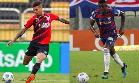 Richard, do Athletico-PR, e Marcelo Benevenuto, do Fortaleza, no Brasileirão 2021