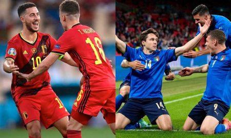 Bélgica e Itália em seus jogos das oitavas de final da Eurocopa 2021