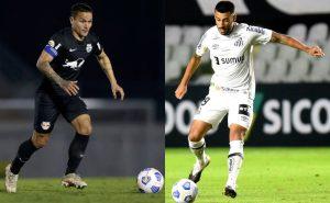 Artur, do Bragantino, e Camacho, do Santos, no Brasileirão 2021
