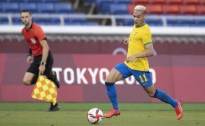 O atacante Antony em Brasil 0 x 0 Costa do Marfim nas Olimpíadas de Tóquio