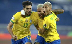 A comemoração de Paquetá, Neymar e Richarlison em Brasil 1 x 0 Chile pela Copa América 2021