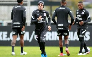 Jogadores do Corinthians durante treino para a próxima rodada da Série A do Brasileirão 2021