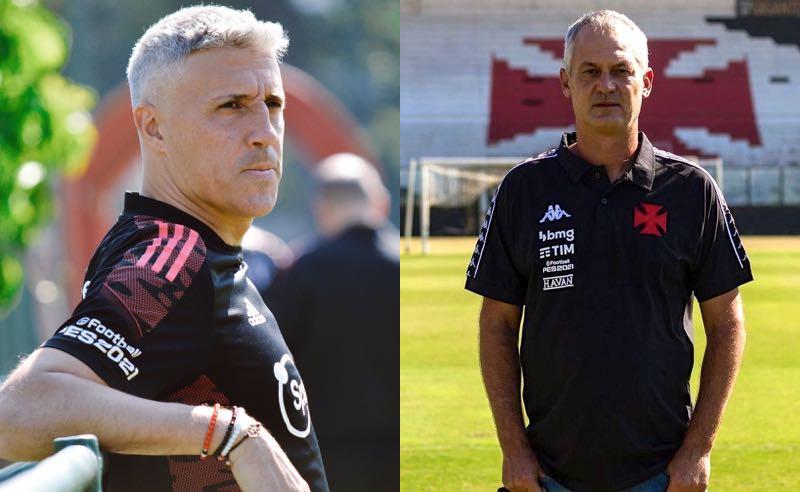Os técnicos Crespo, do São Paulo, e Lisca, do Vasco, que duelam na Copa do Brasil 2021