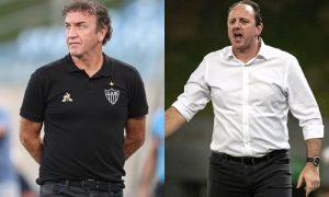 Os técnicos Cuca, do Atlético-MG, e Rogério Ceni, do Flamengo, no Brasileirão 2021