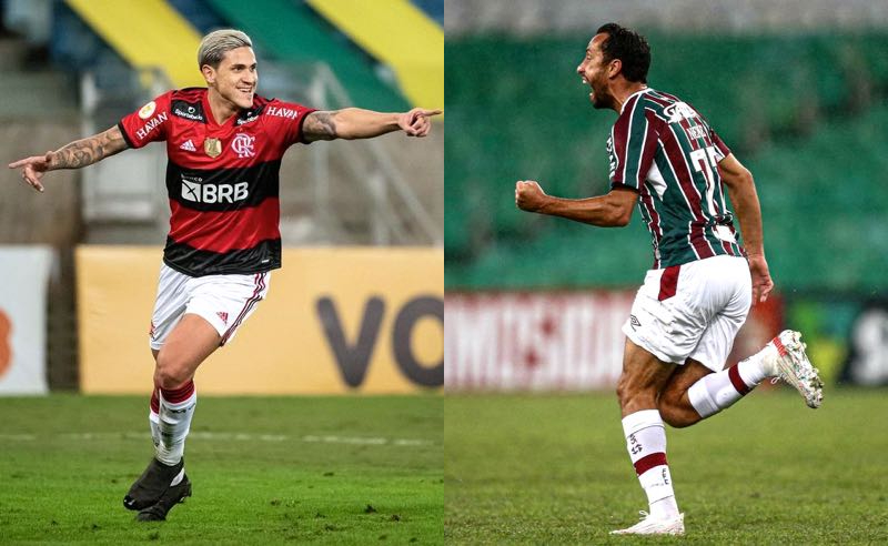 Pedro, do Flamengo, e Nenê, do Fluminense, no Brasileirão 2021