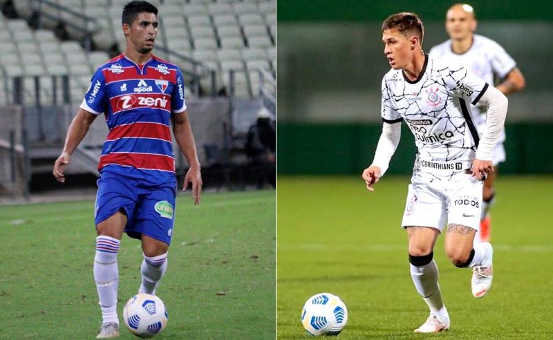 Daniel Guedes, do Fortaleza, e Mateus Vital, do Corinthians, no Brasileirão 2021