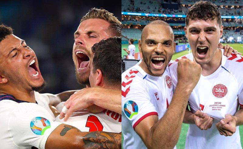 Seleções da Inglaterra e da Dinamarca comemoram a classificação para as semifinais da Eurocopa 2021