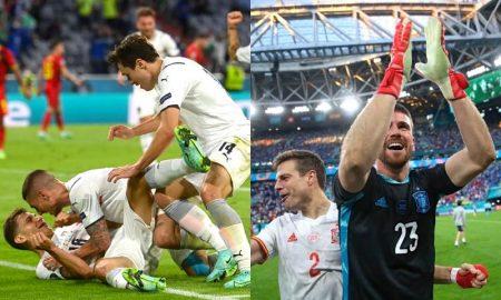 As seleções de Itália e Espanha comemoram a classificação às semifinais da Eurocopa 2021