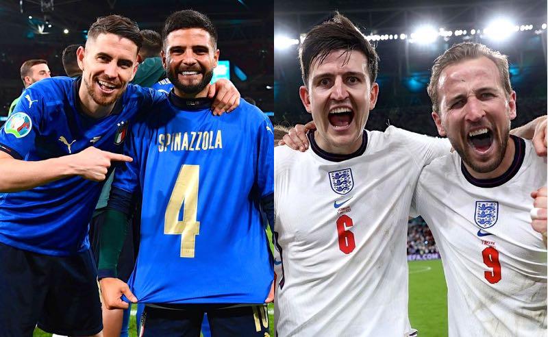 Jorginho e Insigne, da Itália, e Maguire e Kane, da Inglaterra, na Eurocopa 2021