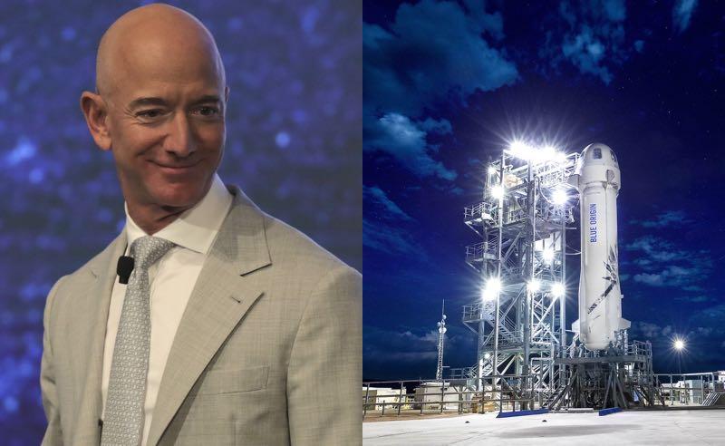 Jeff Bezos, da Amazon, e o foguete de sua empresa Blue Origin