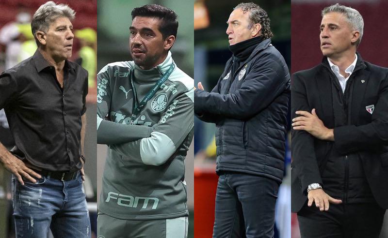 Renato, Abel, Cuca e Crespo, técnicos dos brasileiros nas quartas da Libertadores 2021