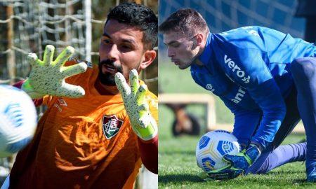 Os goleiros Marcos Felipe, do Fluminense, e Gabriel Chapecó, do Grêmio, treinam para a Copa do Brasil 2021