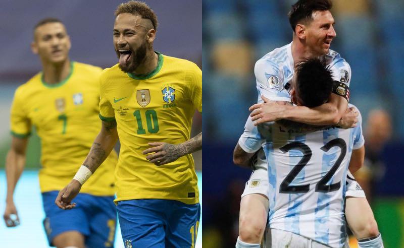 Neymar, do Brasil, e Messi, da Argentina, na Copa América 2021