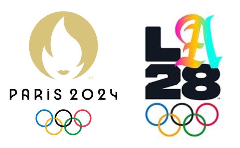 Logotipos das próximas Olimpíadas: Paris 2024 e Los Angeles 2028