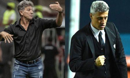 Os técnicos Renato Gaúcho, do Flamengo, e Hernán Crespo, do São Paulo