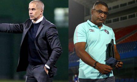 Os técnicos Sylvinho, do Corinthians, e Roger Machado, do Fluminense, que disputam o Brasileirão 2021