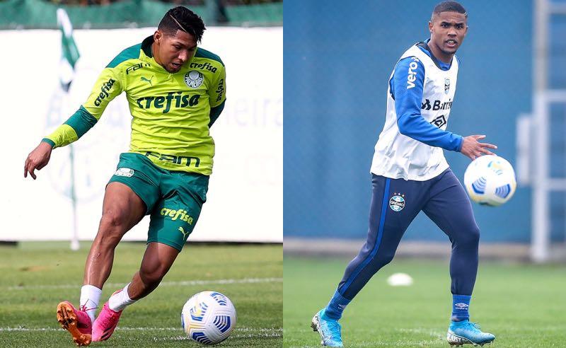 Rony, do Palmeiras, e Douglas Costa, do Grêmio, treinando para o duelo entre as equipes no Brasileirão 2021