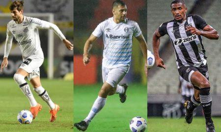 Luan Peres, do Santos, Diego Souza, do Grêmio, e Saulo Mineiro, do Ceará, no Brasileirão 2021
